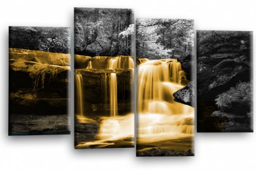 Autumn Forest Waterfall Canvas Wall Art Orange Grey Picture Print